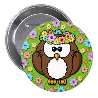 Cute Boho Owl on Pastel Floral and Green Button