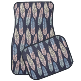 Cute boho pattern pastel colored feathers artsy car floor mat
