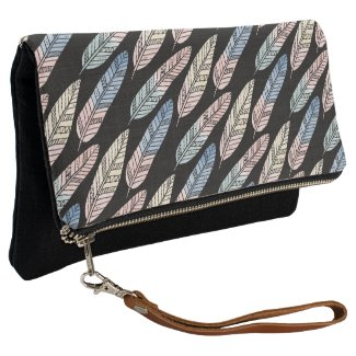 Cute boho pattern pastel colored feathers artsy clutch