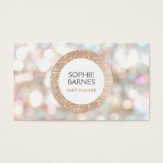 Cute Bokeh And Rose Gold Sequin Event Planner 2 Business Card at Zazzle
