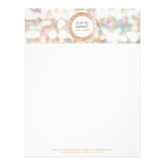 Cute Bokeh and Rose Gold Sequin Event Planner Letterhead