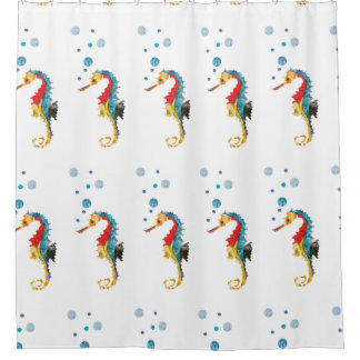 cute bold colorful watercolor seahorse shower curtain