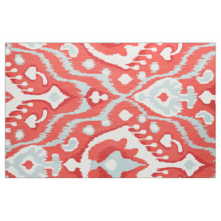 Cute bold red turquoise white ikat tribal patterns fabric