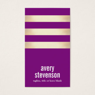 Cute Bold Typography Purple Gold Striped Business Card