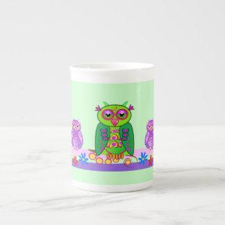 Cute Bone China mug with Cartoon Owls