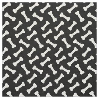 Cute Bones Pattern Black and White Fabric