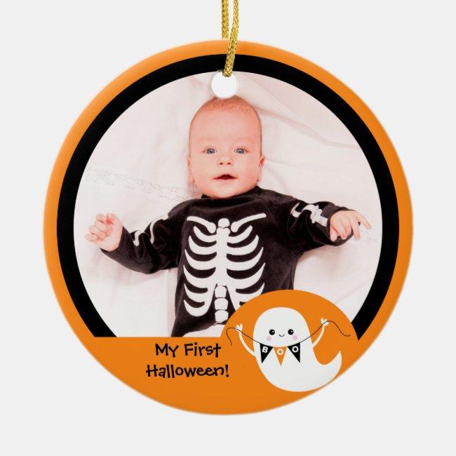 Cute Boo Ghost Halloween Photo Ornament