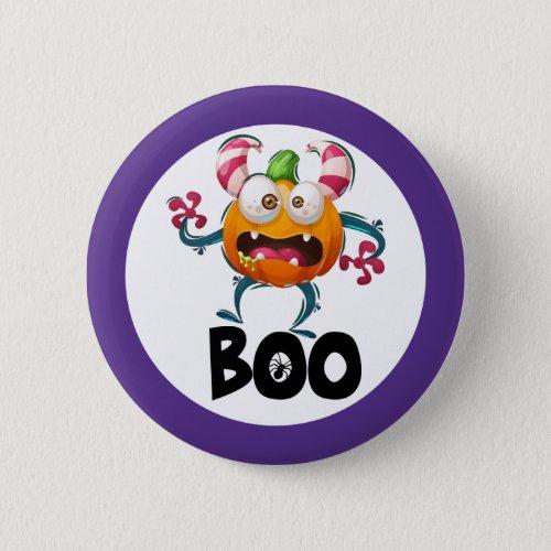 Cute boo pumpkin monster halloween purple button