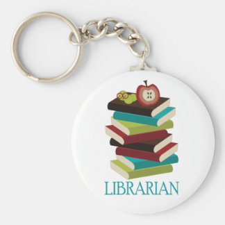 Cute Book Stack Librarian Gift Basic Round Button Keychain
