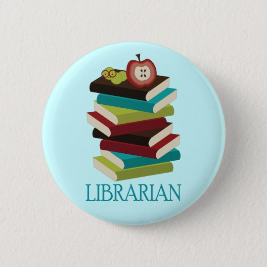 Cute Book Stack Librarian Gift Pinback Button