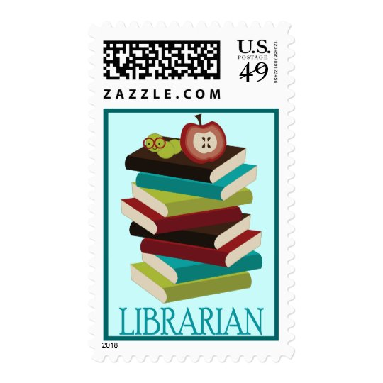 Cute Book Stack Librarian Gift Postage