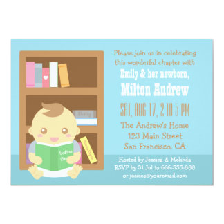 Cute Book Themed, Baby Boy Shower Invitation