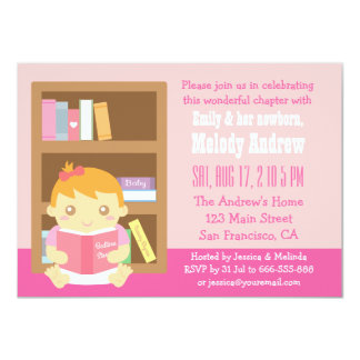 Cute Book Themed, Baby Girl Shower Invitation
