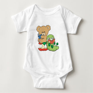 Cute Book Worm and Reading Bear Baby Bodysuit
