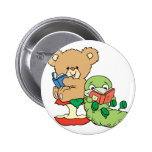 Cute Book Worm and Reading Bear Button