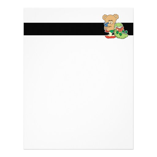 Cute Book Worm and Reading Bear Customized Letterhead