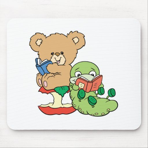 Cute Book Worm and Reading Bear Mouse Mat