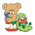 Cute Book Worm and Reading Bear Photo Cut Outs