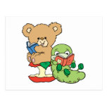 Cute Book Worm and Reading Bear Post Cards