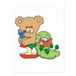 Cute Book Worm and Reading Bear Postcards