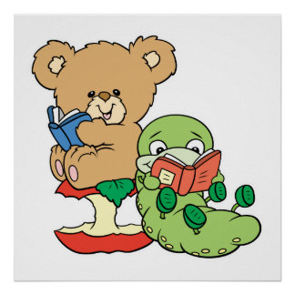 Cute Book Worm and Reading Bear Poster