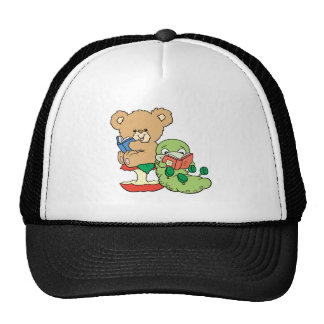 Cute Book Worm and Reading Bear Trucker Hat