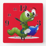 Cute Bookworm Animal Print Children's Square Wall Clock