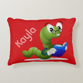 Cute Bookworm Animal Print Personalized Accent Pillow