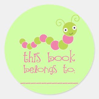 Cute Bookworm Book Plate Stickers