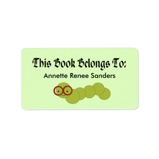 Cute Bookworm Bookplate Stickers For Readers Label