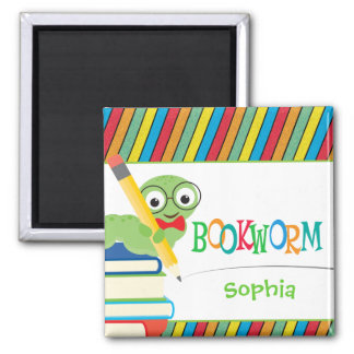 Cute Bookworm Sitting on Books Personalized 2 Inch Square Magnet