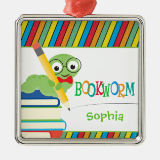 Cute Bookworm Sitting on Books Personalized Metal Ornament