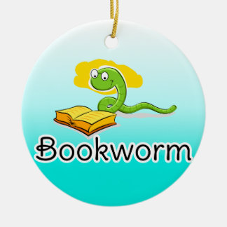 Cute Bookworm w/Glasses Double-Sided Ceramic Round Christmas Ornament
