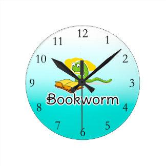 Cute Bookworm w/Glasses Round Clock