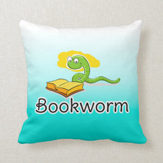 Cute Bookworm w/Glasses Throw Pillow