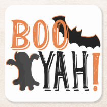 cute booyah halloween square paper coaster
