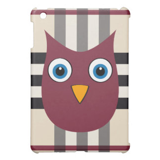 Cute bordeaux owl with bright blue eyes iPad mini cases