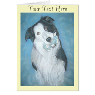 cute border collie dog and teddy art portrait greeting card