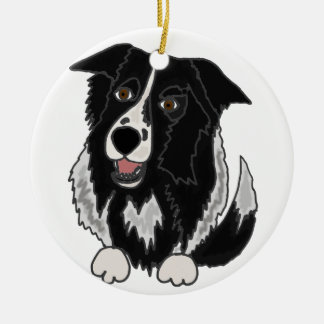 Cute Border Collie Dog Art Ceramic Ornament