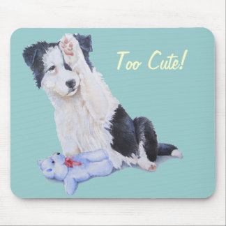 cute border collie puppy and blue teddy bear mouse pad