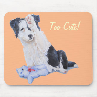 cute border collie puppy and teddy bear high five mouse pad