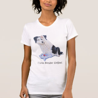 Cute border collie puppy dog portrait realist art T-Shirt