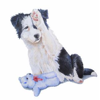 Cute border collie puppy & teddy sculpture magnet