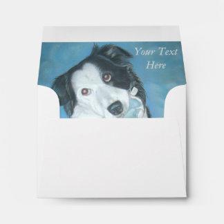 cute border collie teddy dog portrait art design envelope