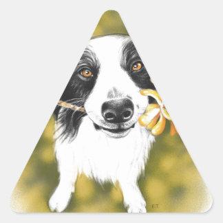 Cute border Collie Triangle Sticker