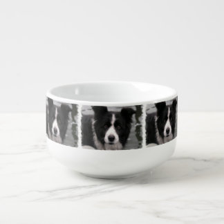 Cute Border Collie Soup Bowl With Handle