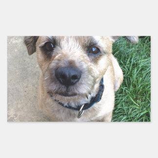 Cute border terrier rectangular sticker