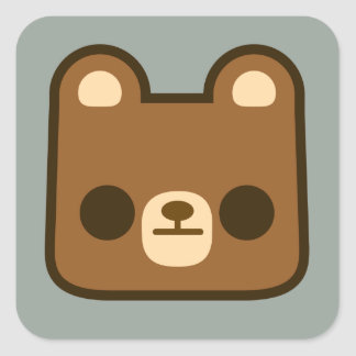 Cute Bored Bear Face on Grey Square Sticker