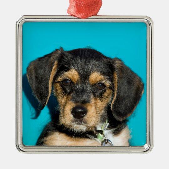 Cute Borkie Puppy Metal Ornament