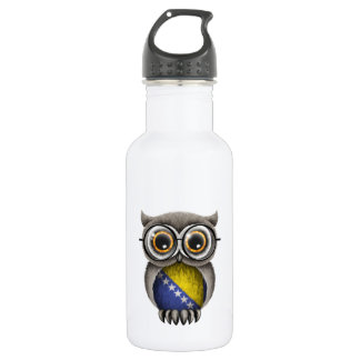 Cute Bosnia - Herzegovina Flag Owl Wearing Glasses Stainless Steel Water Bottle
